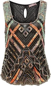 Black Sequin Beaded Cami - sleeve style: wide vest straps; secondary colour: coral; predominant colour: black; occasions: evening, occasion; length: standard; style: top; neckline: scoop; fibres: polyester/polyamide - 100%; fit: body skimming; back detail: keyhole/peephole detail at back; sleeve length: sleeveless; pattern type: fabric; pattern size: small &amp; busy; pattern: patterned/print; texture group: other - light to midweight; embellishment: sequins