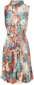 Flo Printed Shift Dress Multi - style: shift; neckline: shirt collar/peter pan/zip with opening; fit: fitted at waist; sleeve style: sleeveless; waist detail: belted waist/tie at waist/drawstring; bust detail: buttons at bust (in middle at breastbone)/zip detail at bust; secondary colour: pale blue; length: just above the knee; fibres: polyester/polyamide - 100%; occasions: occasion, holiday; hip detail: structured pleats at hip; predominant colour: multicoloured; sleeve length: sleeveless; texture group: sheer fabrics/chiffon/organza etc.; pattern type: fabric; pattern size: big & busy; pattern: patterned/print