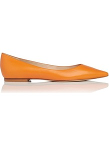 Ivana Leather Point Toe Flat Orange - predominant colour: mustard; occasions: casual, work, holiday; material: leather; heel height: flat; toe: pointed toe; style: ballerinas / pumps; finish: plain; pattern: plain