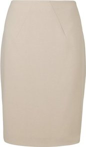Kathy Pencil Skirt Brown Soft Biscuit - pattern: plain; style: pencil; fit: tailored/fitted; waist: mid/regular rise; predominant colour: stone; occasions: evening, work; length: just above the knee; fibres: polyester/polyamide - stretch; texture group: cotton feel fabrics; pattern type: fabric