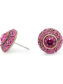 Vintage Purple Crystal Surround Stud Earring - predominant colour: magenta; occasions: casual, evening, work, occasion; style: stud; length: short; size: small; material: chain/metal; fastening: pierced; finish: plain; embellishment: jewels
