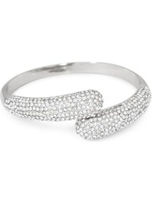 Crystal Embellished Polished Silver Twist Bangle - predominant colour: silver; occasions: evening, occasion; style: bangle; size: small; material: chain/metal; finish: metallic; embellishment: crystals