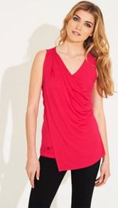 Pink Jersey Abbey Road Top - neckline: v-neck; pattern: plain; sleeve style: sleeveless; waist detail: twist front waist detail/nipped in at waist on one side/soft pleats/draping/ruching/gathering waist detail; bust detail: ruching/gathering/draping/layers/pintuck pleats at bust; predominant colour: hot pink; occasions: evening, work, holiday; length: standard; style: top; fibres: viscose/rayon - stretch; fit: body skimming; sleeve length: sleeveless; pattern type: fabric; texture group: jersey - stretchy/drapey
