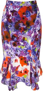 Women&#x27;s Ibiza Skirt, Multi Coloured - length: below the knee; fit: body skimming; waist: mid/regular rise; secondary colour: true red; style: asymmetric (hem); fibres: polyester/polyamide - 100%; occasions: occasion; predominant colour: multicoloured; texture group: sheer fabrics/chiffon/organza etc.; pattern type: fabric; pattern size: standard; pattern: florals