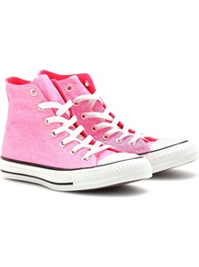 Chuck Taylor All Star High Tops - predominant colour: pink; occasions: casual, holiday; material: fabric; heel height: flat; heel: standard; toe: round toe; boot length: ankle boot; style: high top; finish: plain; pattern: plain