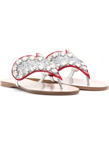 Leather Sandals With Embellished Heart - secondary colour: true red; predominant colour: silver; occasions: casual, holiday; material: fabric; heel height: flat; embellishment: crystals; heel: standard; toe: toe thongs; style: flip flops / toe post; finish: metallic; pattern: plain