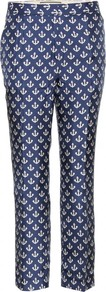 Gertrudi Print Trousers - waist: mid/regular rise; secondary colour: white; predominant colour: navy; occasions: casual, evening, work; length: calf length; fibres: silk - 100%; texture group: structured shiny - satin/tafetta/silk etc.; fit: slim leg; pattern type: fabric; pattern size: small & busy; pattern: patterned/print; style: standard