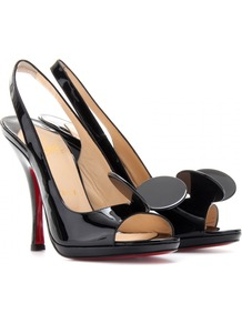 Miss Mouse 120 Patent Leather Pumps - predominant colour: black; occasions: evening, occasion; material: leather; heel: stiletto; toe: open toe/peeptoe; style: slingbacks; finish: patent; pattern: plain; heel height: very high