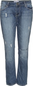 Lydia Jeans - style: straight leg; pattern: plain; waist: low rise; pocket detail: traditional 5 pocket; predominant colour: denim; occasions: casual, holiday; length: ankle length; fibres: cotton - 100%; jeans detail: whiskering, shading down centre of thigh, washed/faded; texture group: denim; pattern type: fabric