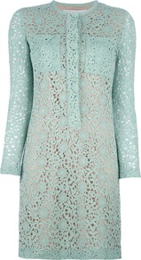 Floral Crochet Dress - style: shift; pattern: plain; bust detail: pocket detail at bust; predominant colour: pistachio; length: just above the knee; fit: straight cut; fibres: silk - 100%; occasions: occasion; neckline: crew; sleeve length: long sleeve; sleeve style: standard; texture group: lace; pattern type: fabric