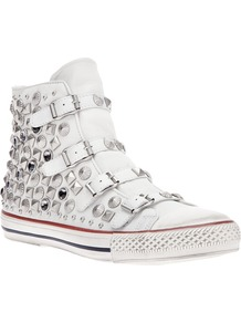 'Victim' Studded Trainer - predominant colour: white; occasions: casual, holiday; material: leather; heel height: flat; embellishment: studs; heel: standard; toe: round toe; boot length: ankle boot; style: high top; finish: plain; pattern: plain