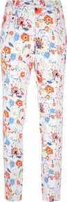 Flower Print Trouser - length: standard; pocket detail: small back pockets; waist: mid/regular rise; secondary colour: bright orange; occasions: casual, evening, occasion, holiday; fibres: viscose/rayon - stretch; predominant colour: multicoloured; trends: high impact florals; fit: slim leg; pattern type: fabric; pattern size: standard; pattern: florals; texture group: woven light midweight; style: standard
