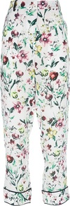 Printed Trouser - length: standard; waist: high rise; predominant colour: white; occasions: casual, evening, occasion, holiday; fibres: silk - 100%; texture group: silky - light; trends: high impact florals; fit: straight leg; pattern type: fabric; pattern size: standard; pattern: florals; style: standard