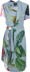 'Daisy' Dress - neckline: cowl/draped neck; waist detail: belted waist/tie at waist/drawstring; predominant colour: pale blue; secondary colour: dark green; occasions: evening; length: just above the knee; fit: body skimming; style: asymmetric (hem); fibres: viscose/rayon - 100%; hip detail: soft pleats at hip/draping at hip/flared at hip; sleeve length: short sleeve; sleeve style: standard; texture group: sheer fabrics/chiffon/organza etc.; pattern type: fabric; pattern size: big & busy; pattern: florals