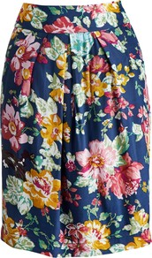 Sunbird Floral Elisa Skirt, Navy Floral - style: tulip; fit: body skimming; waist detail: wide waistband/cummerbund; waist: high rise; predominant colour: navy; secondary colour: yellow; occasions: casual, evening, work, holiday; length: just above the knee; fibres: viscose/rayon - 100%; hip detail: structured pleats at hip; texture group: cotton feel fabrics; trends: high impact florals; pattern type: fabric; pattern size: big & busy; pattern: florals