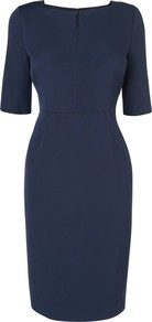 Fitted Dress, Navy - style: shift; neckline: round neck; fit: tailored/fitted; pattern: plain; waist detail: fitted waist; predominant colour: navy; occasions: evening, work, occasion; length: just above the knee; fibres: viscose/rayon - stretch; sleeve length: half sleeve; sleeve style: standard; texture group: crepes; pattern type: fabric