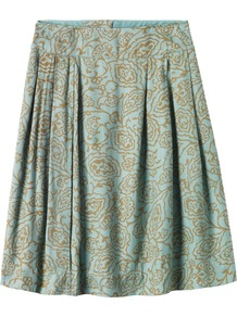 Marlo Floral Jacquard Skirt - fit: loose/voluminous; style: pleated; waist: mid/regular rise; predominant colour: turquoise; occasions: evening, work; length: just above the knee; fibres: viscose/rayon - 100%; hip detail: structured pleats at hip; pattern type: fabric; pattern size: small & busy; pattern: florals; texture group: brocade/jacquard