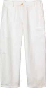 Eliza Linen Trousers, White - length: standard; pattern: plain; waist: mid/regular rise; predominant colour: white; occasions: casual, holiday; fibres: linen - 100%; texture group: linen; fit: wide leg; pattern type: fabric; style: standard