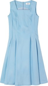 Eva Cotton Dress, Chambray - length: mid thigh; neckline: high square neck; pattern: plain; sleeve style: sleeveless; waist detail: fitted waist; predominant colour: pale blue; occasions: casual, evening, occasion; fit: fitted at waist &amp; bust; style: fit &amp; flare; fibres: cotton - 100%; hip detail: structured pleats at hip; sleeve length: sleeveless; texture group: cotton feel fabrics; pattern type: fabric