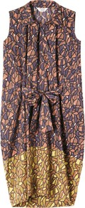 Gabriella Contrast Print Dress, Multi - style: smock; length: mid thigh; neckline: shirt collar/peter pan/zip with opening; fit: loose; sleeve style: sleeveless; waist detail: embellishment at waist/feature waistband; secondary colour: mustard; occasions: casual, holiday; fibres: cotton - mix; predominant colour: multicoloured; sleeve length: sleeveless; texture group: cotton feel fabrics; pattern type: fabric; pattern size: small &amp; busy; pattern: patterned/print