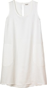 Verity Dress, White - style: smock; length: mini; neckline: round neck; fit: loose; pattern: plain; sleeve style: sleeveless; predominant colour: white; occasions: casual; fibres: linen - 100%; hip detail: soft pleats at hip/draping at hip/flared at hip; back detail: keyhole/peephole detail at back; sleeve length: sleeveless; texture group: linen; pattern type: fabric
