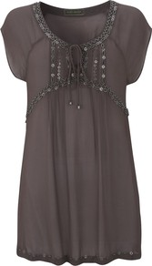 Beaded Tunic Top - neckline: round neck; sleeve style: dolman/batwing; pattern: plain; bust detail: added detail/embellishment at bust; length: below the bottom; style: tunic; predominant colour: mid grey; occasions: casual, holiday; fibres: viscose/rayon - 100%; fit: loose; sleeve length: short sleeve; pattern type: fabric; texture group: jersey - stretchy/drapey; embellishment: beading