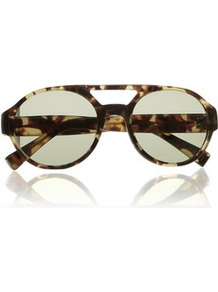 Round Frame Tortoiseshell Acetate Sunglasses - secondary colour: yellow; predominant colour: chocolate brown; occasions: casual, holiday; style: round; size: standard; material: plastic/rubber; pattern: tortoiseshell; finish: plain
