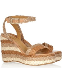 Raffia Wedge Sandals - secondary colour: ivory; predominant colour: camel; occasions: casual, holiday; material: macrame/raffia/straw; heel height: high; ankle detail: ankle strap; heel: wedge; toe: open toe/peeptoe; style: standard; finish: plain; pattern: striped