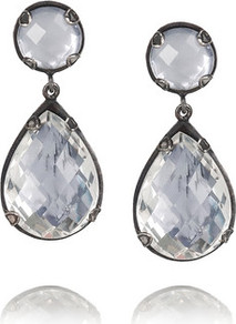 Prong Oxidized Sterling Silver Topaz Drop Earrings - secondary colour: silver; occasions: evening, occasion; style: drop; length: mid; size: standard; material: chain/metal; fastening: pierced; finish: plain; embellishment: jewels; predominant colour: clear