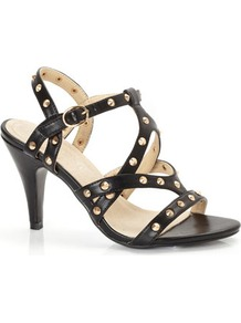 Black Studded Sandal - secondary colour: gold; predominant colour: black; occasions: evening, occasion, holiday; material: faux leather; heel height: high; embellishment: studs; ankle detail: ankle strap; heel: stiletto; toe: open toe/peeptoe; style: strappy; finish: plain; pattern: plain