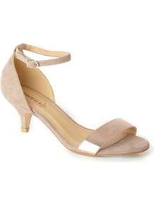Metallic Two Part Kitten Heel Sandal - predominant colour: nude; occasions: evening, occasion, holiday; material: faux leather; heel height: mid; ankle detail: ankle strap; heel: kitten; toe: open toe/peeptoe; style: standard; trends: metallics; finish: metallic; pattern: plain