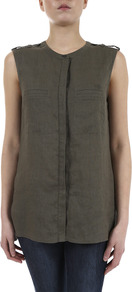 Linen Military Sleeveless Shirt - pattern: plain; sleeve style: sleeveless; length: below the bottom; style: shirt; bust detail: buttons at bust (in middle at breastbone)/zip detail at bust; predominant colour: khaki; occasions: casual, work; fibres: linen - 100%; fit: straight cut; neckline: crew; shoulder detail: discreet epaulette; sleeve length: sleeveless; texture group: linen; pattern type: fabric
