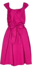 Liberty Tie Waist Cotton Dress Vivienne Westwood Angloman - sleeve style: capped; fit: fitted at waist; pattern: plain; style: full skirt; waist detail: belted waist/tie at waist/drawstring; bust detail: ruching/gathering/draping/layers/pintuck pleats at bust; predominant colour: hot pink; occasions: evening, occasion; length: just above the knee; fibres: cotton - 100%; hip detail: structured pleats at hip; sleeve length: sleeveless; texture group: silky - light; neckline: low square neck; pattern type: fabric