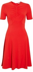 Draped Jersey Fitted Dress - pattern: plain; neckline: high neck; waist detail: fitted waist; bust detail: ruching/gathering/draping/layers/pintuck pleats at bust; predominant colour: true red; occasions: casual, evening, work, occasion; length: just above the knee; fit: fitted at waist &amp; bust; style: fit &amp; flare; fibres: cotton - stretch; hip detail: structured pleats at hip; sleeve length: short sleeve; sleeve style: standard; pattern type: fabric; texture group: jersey - stretchy/drapey