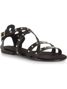 Black Studded Cross Over Leather Sandals - predominant colour: black; occasions: casual, holiday; material: leather; heel height: flat; embellishment: studs; ankle detail: ankle strap; heel: standard; toe: open toe/peeptoe; style: strappy; finish: plain; pattern: plain