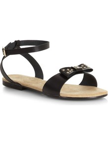 Black Stud Leather Bow Sandals - predominant colour: black; occasions: casual, holiday; material: leather; heel height: flat; ankle detail: ankle strap; heel: standard; toe: open toe/peeptoe; style: standard; finish: plain; pattern: plain; embellishment: bow