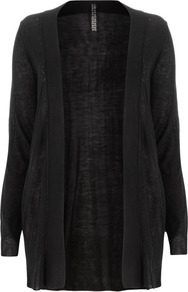 Black Longline Cardigan - pattern: plain; length: below the bottom; neckline: collarless open; predominant colour: black; occasions: casual, work; style: standard; fibres: acrylic - 100%; fit: standard fit; sleeve length: long sleeve; sleeve style: standard; texture group: knits/crochet; pattern type: knitted - fine stitch