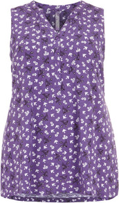 Purple Sleeveless Bird Print Top - neckline: v-neck; sleeve style: sleeveless; length: below the bottom; style: shirt; back detail: tie detail at back; predominant colour: lilac; occasions: casual, holiday; fibres: cotton - 100%; fit: body skimming; sleeve length: sleeveless; texture group: cotton feel fabrics; pattern type: fabric; pattern size: small &amp; busy; pattern: florals
