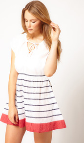 Sun Stripe Knee Length Dress - length: mini; neckline: round neck; sleeve style: capped; fit: fitted at waist; pattern: horizontal stripes; style: sundress; waist detail: elasticated waist; back detail: low cut/open back; predominant colour: ivory; secondary colour: navy; occasions: casual, holiday; fibres: cotton - 100%; hip detail: soft pleats at hip/draping at hip/flared at hip; sleeve length: sleeveless; texture group: cotton feel fabrics; pattern type: fabric; pattern size: standard