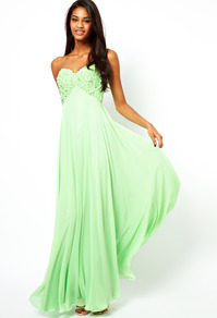 Applique Flower Bandeau Maxi Dress - neckline: strapless (straight/sweetheart); fit: empire; pattern: plain; style: maxi dress; sleeve style: strapless; bust detail: added detail/embellishment at bust; predominant colour: pistachio; occasions: evening, occasion; length: floor length; fibres: polyester/polyamide - 100%; sleeve length: sleeveless; texture group: sheer fabrics/chiffon/organza etc.; pattern type: fabric; embellishment: crystals