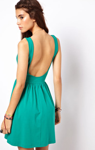 Mini Sundress Dress With Scoop Back - length: mid thigh; neckline: slash/boat neckline; pattern: plain; sleeve style: sleeveless; waist detail: fitted waist; back detail: low cut/open back; predominant colour: emerald green; occasions: casual, evening, holiday; fit: fitted at waist & bust; style: fit & flare; fibres: cotton - stretch; hip detail: soft pleats at hip/draping at hip/flared at hip; sleeve length: sleeveless; pattern type: fabric; texture group: jersey - stretchy/drapey