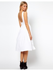 Midi Sundress With Scoop Back - length: below the knee; neckline: slash/boat neckline; pattern: plain; sleeve style: sleeveless; waist detail: fitted waist; back detail: cowl/draping/scoop at back; predominant colour: white; occasions: casual, evening, holiday; fit: fitted at waist & bust; style: fit & flare; fibres: cotton - stretch; hip detail: soft pleats at hip/draping at hip/flared at hip; sleeve length: sleeveless; pattern type: fabric; texture group: jersey - stretchy/drapey