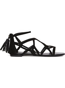 Ida Geometric Flat Sandals - predominant colour: black; occasions: casual, holiday; material: leather; heel height: flat; embellishment: tassels; ankle detail: ankle strap; heel: standard; toe: open toe/peeptoe; style: strappy; finish: plain; pattern: plain