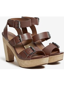 Blythe Buckle Strap Wood Platform Sandal - predominant colour: chocolate brown; occasions: casual, holiday; material: leather; heel height: high; embellishment: buckles; ankle detail: ankle strap; heel: platform; toe: open toe/peeptoe; style: strappy; finish: plain; pattern: plain