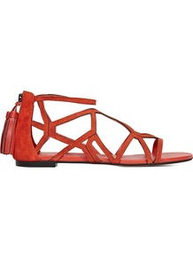 Ida Geometric Flat Sandals - predominant colour: true red; occasions: casual, holiday; material: leather; heel height: flat; embellishment: tassels; ankle detail: ankle strap; heel: standard; toe: open toe/peeptoe; style: strappy; finish: plain; pattern: plain