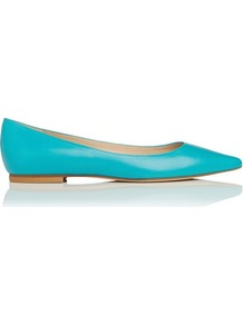 Ivana Leather Point Toe Flat Blue Turquoise - predominant colour: turquoise; occasions: casual, work; material: leather; heel height: flat; toe: pointed toe; style: ballerinas / pumps; trends: fluorescent; finish: plain; pattern: plain