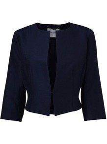 Vanda Cropped Jacket Blue Navy - pattern: plain; style: cropped; collar: round collar/collarless; length: cropped; predominant colour: navy; fit: tailored/fitted; fibres: cotton - mix; occasions: occasion; sleeve length: 3/4 length; sleeve style: standard; collar break: high/illusion of break when open; pattern type: fabric; texture group: woven light midweight