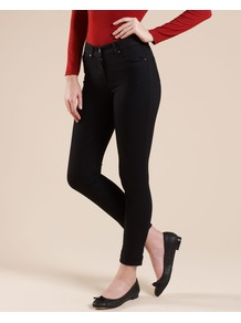 Nadine Skinny Jeans - style: skinny leg; pattern: plain; pocket detail: traditional 5 pocket; waist: mid/regular rise; predominant colour: black; occasions: casual; length: ankle length; fibres: cotton - mix; jeans detail: dark wash; texture group: denim; pattern type: fabric