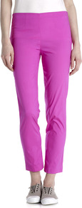 Shantung Stretch Silk Trousers - pattern: plain; waist: mid/regular rise; predominant colour: magenta; occasions: casual; length: ankle length; fit: slim leg; pattern type: fabric; texture group: woven light midweight; style: standard; fibres: silk - stretch