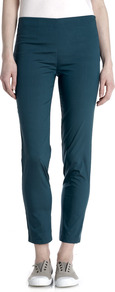 Shantung Stretch Silk Trousers - pattern: plain; waist: mid/regular rise; predominant colour: teal; occasions: casual; length: ankle length; fit: slim leg; pattern type: fabric; texture group: woven light midweight; style: standard; fibres: silk - stretch